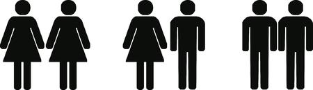 heterosexual: parejas de heterosexuales, gays y lesbianas ilustraci�n Vectores