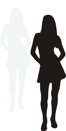 miniskirt: silhouette of a sexy girl with shadow Illustration