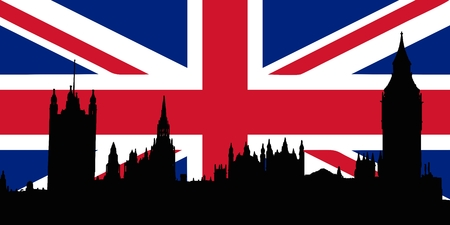Union Jack with Houses of the Parliament silhouette on