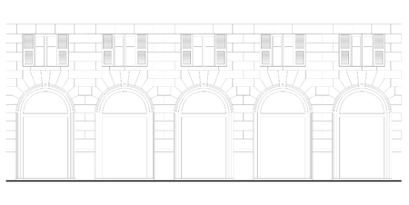 Technical drawing of a building facade vector illustration  Illustration