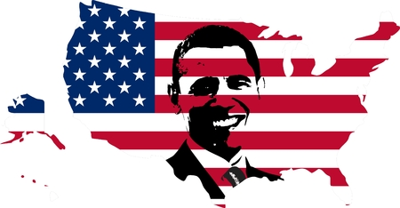Obama over the USA flag