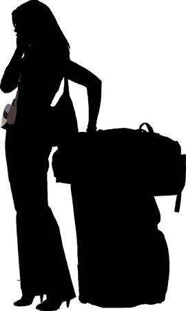 reiziger: silhouet van een stijlvolle meisje met bagage praten op haar mobiele telefoon - geïsoleerde vector illustratie