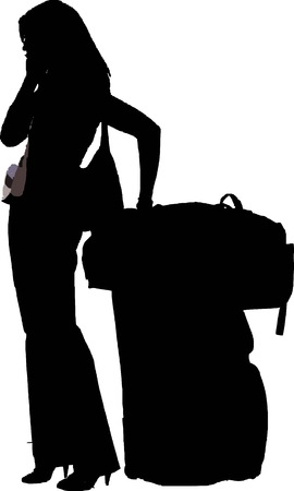 traveler: silhouette of a stylish girl with luggage talk on her mobile phone - isolated vector illustration