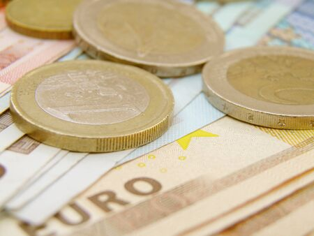 legal tender: Euro currency - legal tender of the European Union - banknotes and coins Stock Photo