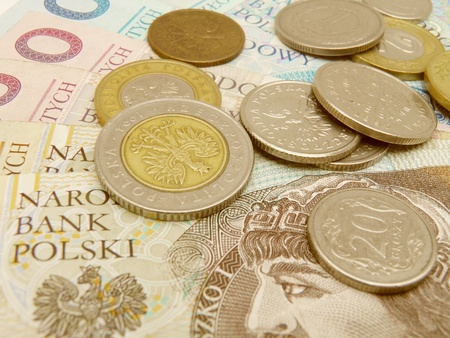 legal tender: Polish zloty currency money - banknotes and coins