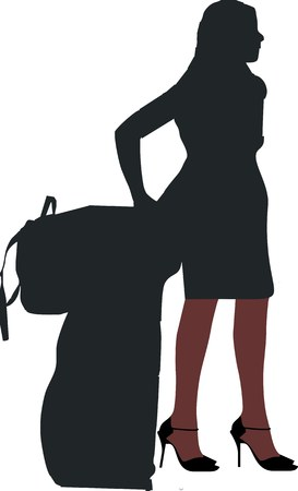 silhouette of a sexy girl with luggage Vector
