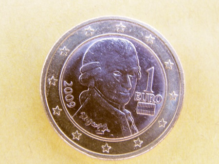 wolfgang: Wolfgang Amadeus Mozart (1756 - 1791) on a 1 euro coin