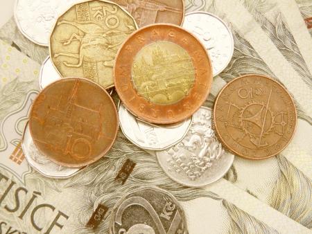 Czech korunas CZK (legal tender of the Czech Republic) banknotes and coins
