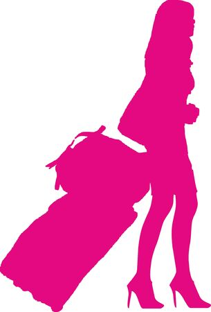 silhouette of a sexy solo girl traveler - isolated vector illustration illustration