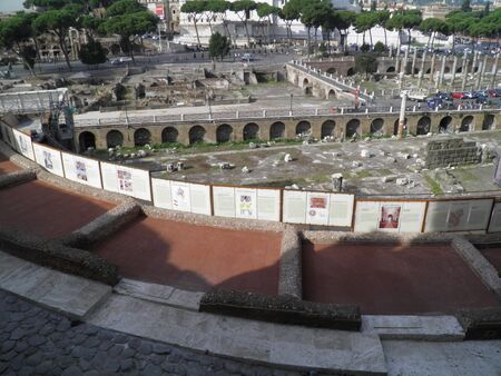 xv century: Rome - Trajans forum and market: a complex of ancient architecture with XV Century additions Stock Photo