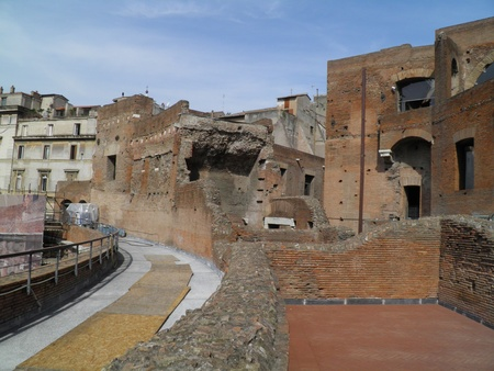 additions: Rome - Trajans forum and market: a complex of ancient architecture with XV Century additions Stock Photo