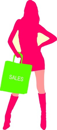 silhouette of a sexy girl with shopping bag - isolated illustration Vector