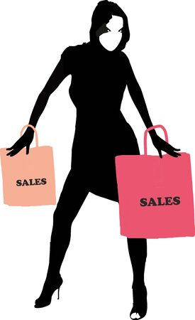 miniskirt: Sexy fashion-victim girl with shopping sales bags - isolated vector illustration