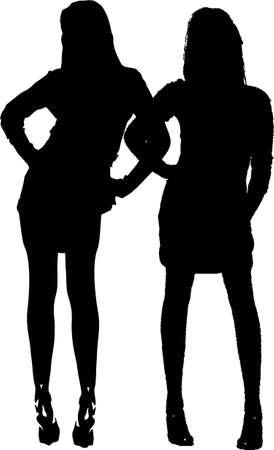 miniskirt: Sexy fashion-victim girls - isolated illustration Stock Photo