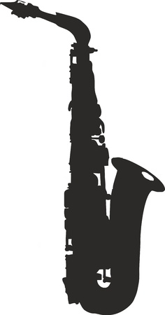 saxophone: alto saxophone silhouette - isolated vector illustration Illustration