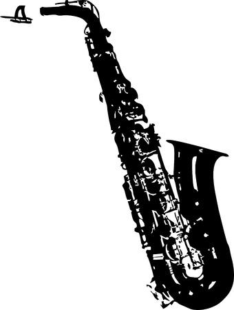alto saxophone silhouette - isolated vector illustration Illustration