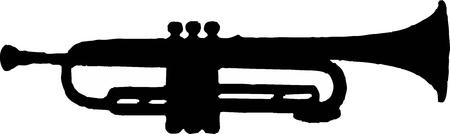 trompette: silhouette trompette - illustration vectorielle isol�
