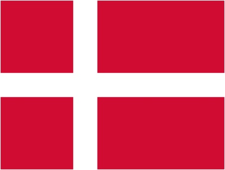 danish flag: Denmark flag and language icon - isolated vector illustration
