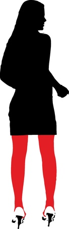 leggy: silhouette of a sexy girl with red stockings -  isolated vector illustration