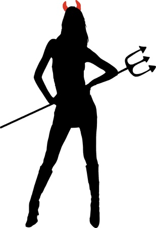 sexy devil: Sexy she-devil with trident - isolated vector illustration Stock Photo