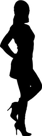 miniskirt: Sexy fashion-victim girl - isolated vector illustration