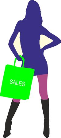 leggy: Sexy fashion-victim girl with shopping sales bag - isolated vector illustration