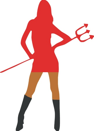 sexy devil: Sexy she-devil with trident - isolated vector illustration Illustration