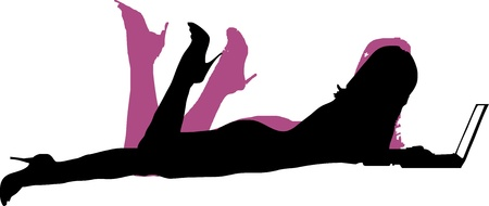 leggy: Sexy girl lying flat with laptop - isolated vector illustration Illustration