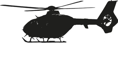 means of transportation: helicopter during flight - isolated illustration