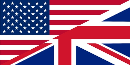 American and British English language icon - isolated vector illustration