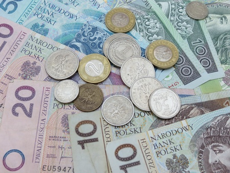 Polish zloty  PLN  currency - banknotes and coins