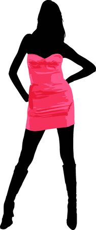 Sexy fashion-victim girl with short pink dress - isolated vector illustration Vector