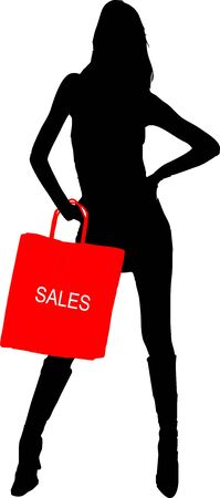 Sexy fashion-victim girl with shopping sales bag Vector