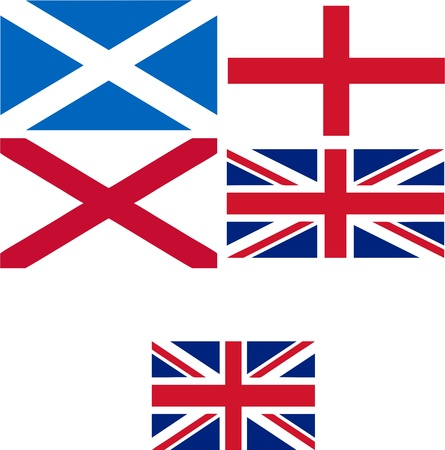 Making of the UK flag, plus stardard 3 x 2 proportion Union Jack useful as language icon on a website - isolated vector illustration Vector