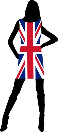 Sexy girl with Union Jack dress - isolated illustration