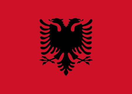 albanian: Albanian flag and language icon - isolated vector illustration