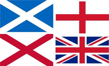 welsh flag: Inghilterra, Scozia e Galles bandiere a formare la Union Jack - illustrazione vettoriale isolato