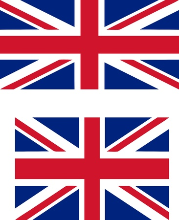 proportions: Flag of the UK with official proportions (2:1) and standard international proportions (3:2) useful as language icon - isolated vector illustration Illustration