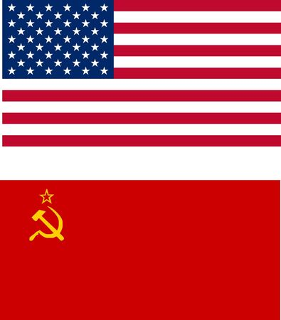USA and USSR flags - isolated vector illustration