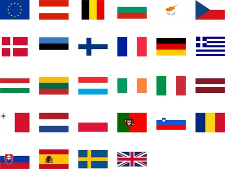 Flags of the European Union member countries Vector