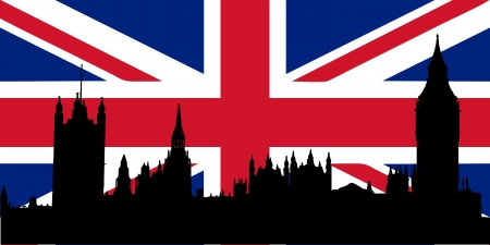Houses of Parliament silhouette over the Union Jack flag - isolated vector illustration Illustration
