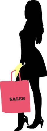 miniskirt: Sexy fashion-victim girl with shopping sales bag - isolated vector illustration