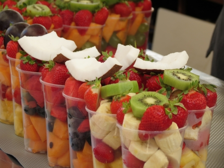 fruit salad in plastic mugs for sale