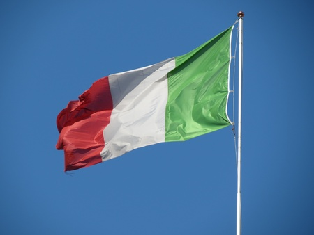 Italian flag waving in the wind photo