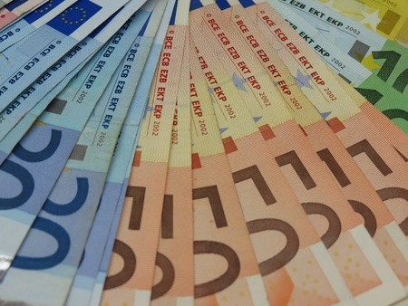 Euro (EUR) banknotes - legal tender of the European Union photo