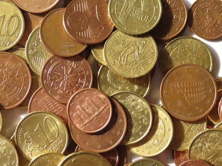 legal tender: Euro (EUR) coins from various countries useful as a background Stock Photo