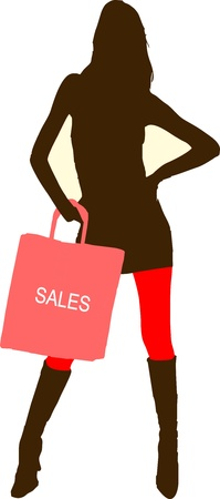 hosiery: Sexy fashion-victim girl with shopping sales bag - isolated vector illustration