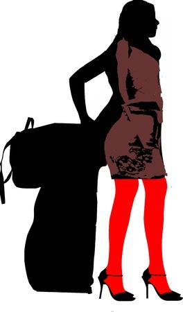 miniskirt: silhouette of a sexy solo girl traveler Illustration