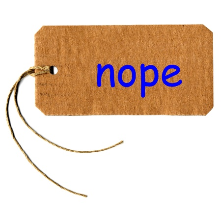 nope tag or label with string isolated over white Stock Photo - 17758055