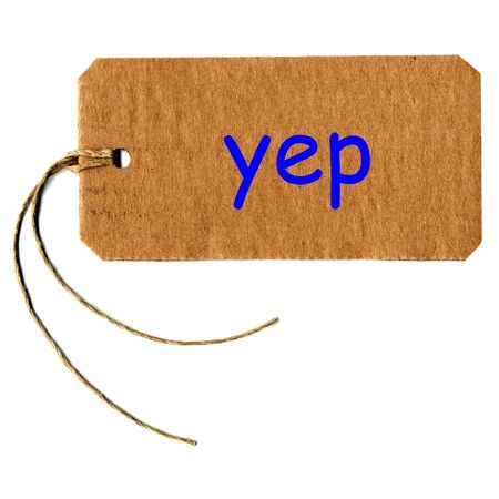 merchandize: yep tag or label with string isolated over white Stock Photo
